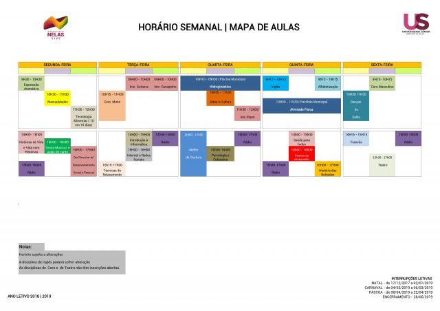 Horário da Universidade Sénior 2018-2019