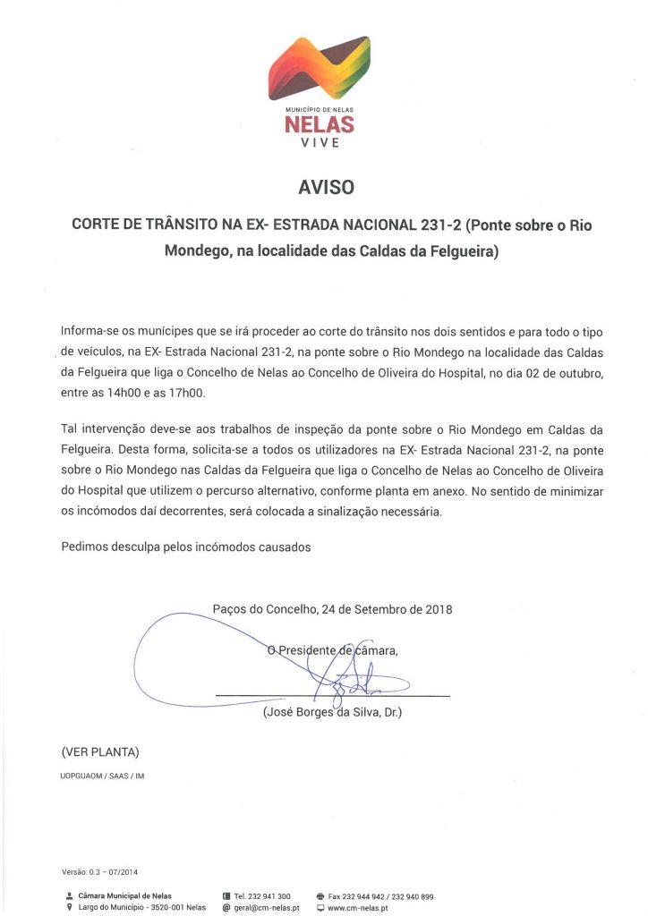 Edital - CORTE DE TRÂNSITO NA EX-ESTRADA NACIONAL 231-2